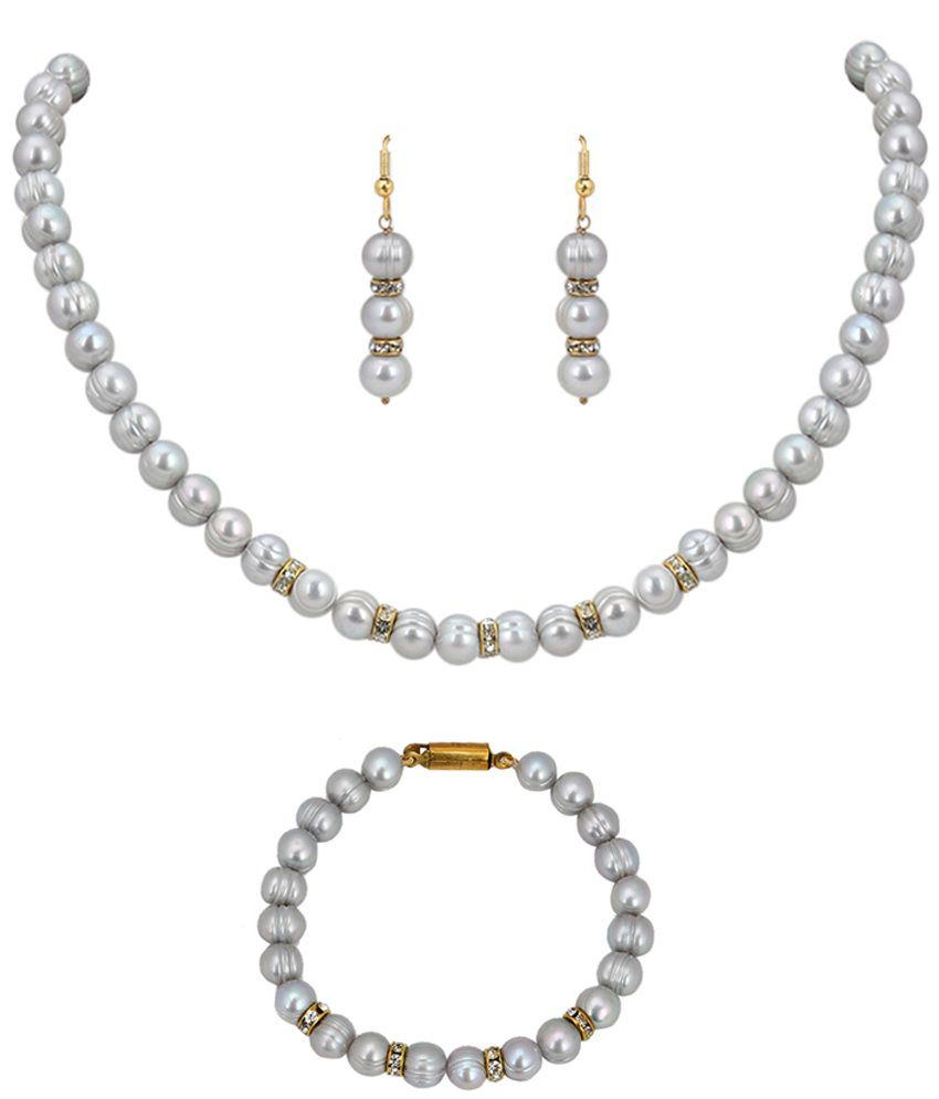 Ddpearls Grey Pearl Necklace Bracelet Set