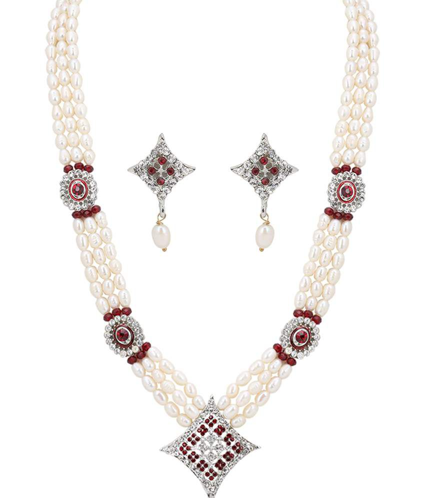 DDPearls 14k White Gold Necklace Set