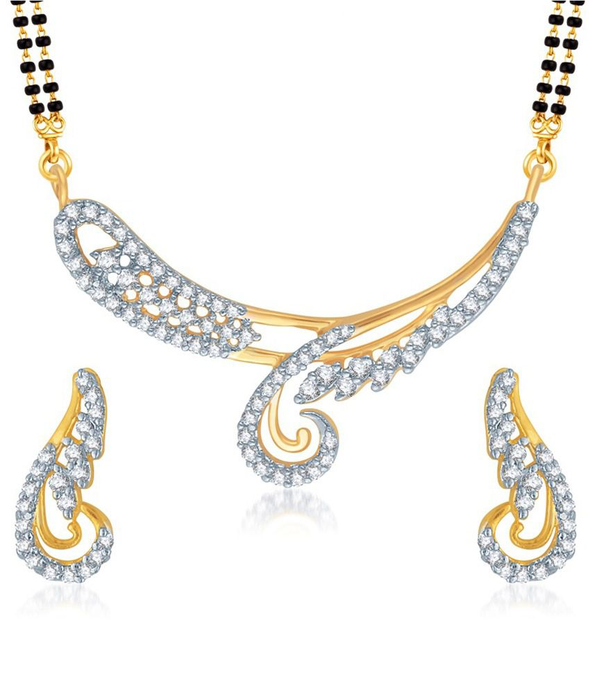 Vk Jewels Classy Gold And Rhodium Plated Mangalsutra Pendant Set With Earrings