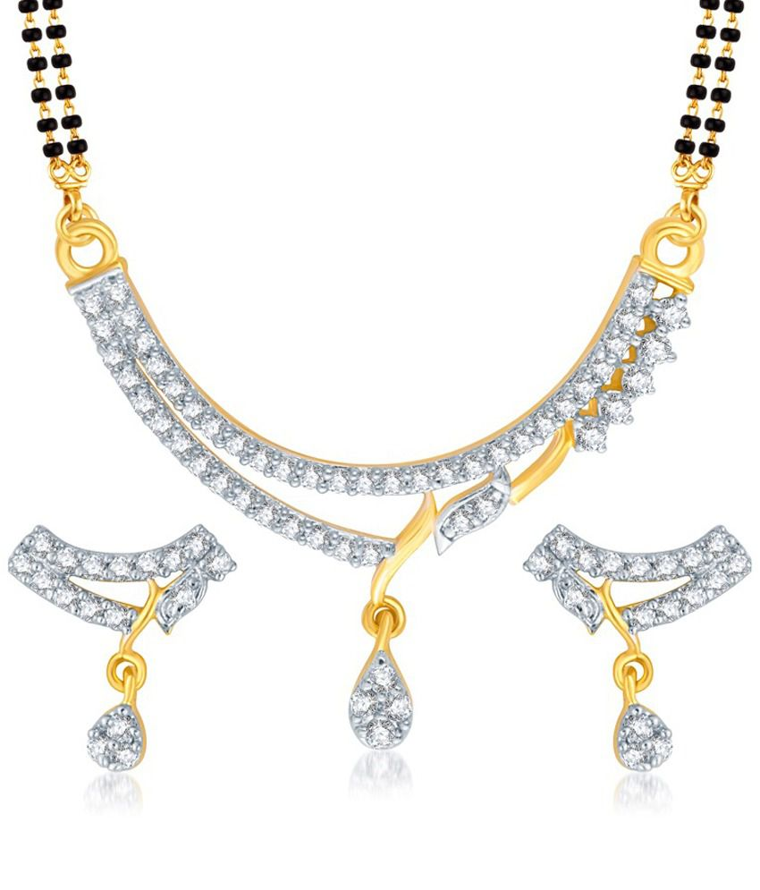 Vk Jewels Gold And Rhodium Plated Mangalsutra Pendant Set With Earrings