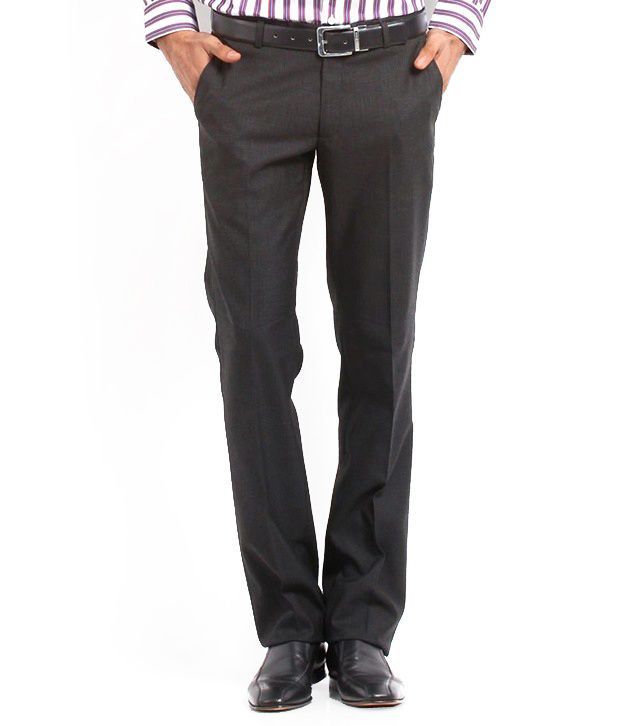 Whitetone Cotton Blend Gray Formal Trousers