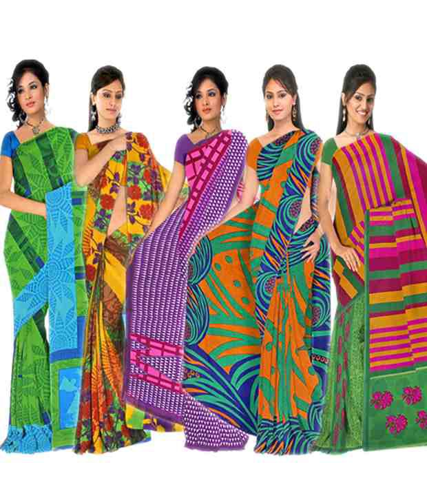 Axsglow Multi Faux Georgette Printed Saree With Blouse Piece - Combo Of 5