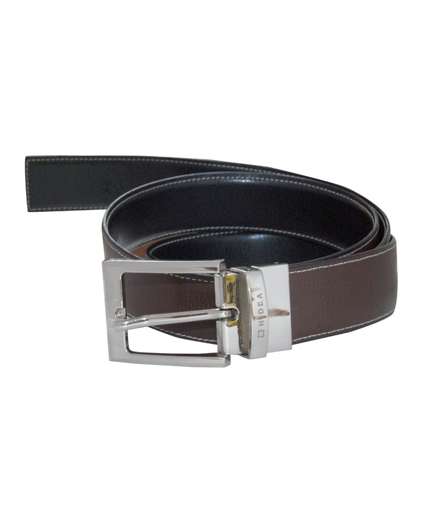Hidea Stitched Reversible Leather Belt With Pin Turning