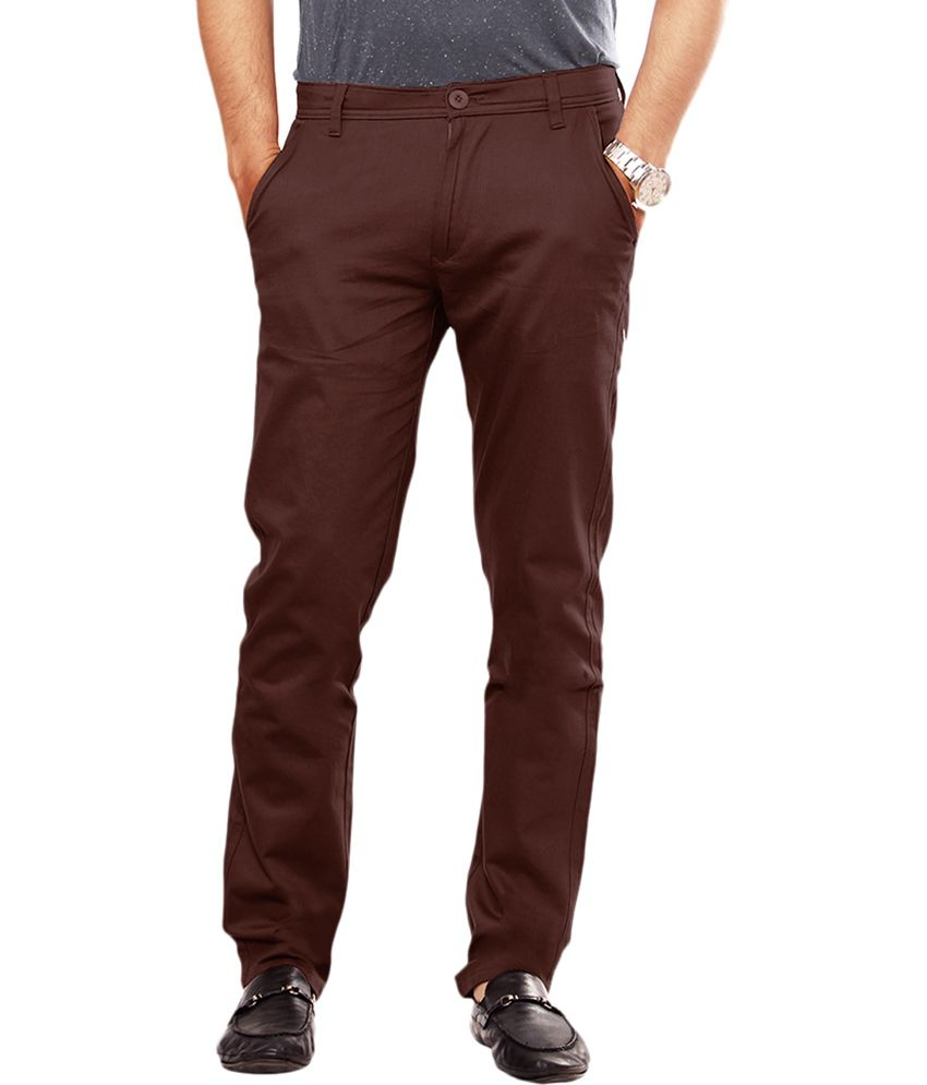 Uber Urban Brown Cotton Lycra Casual Chinos