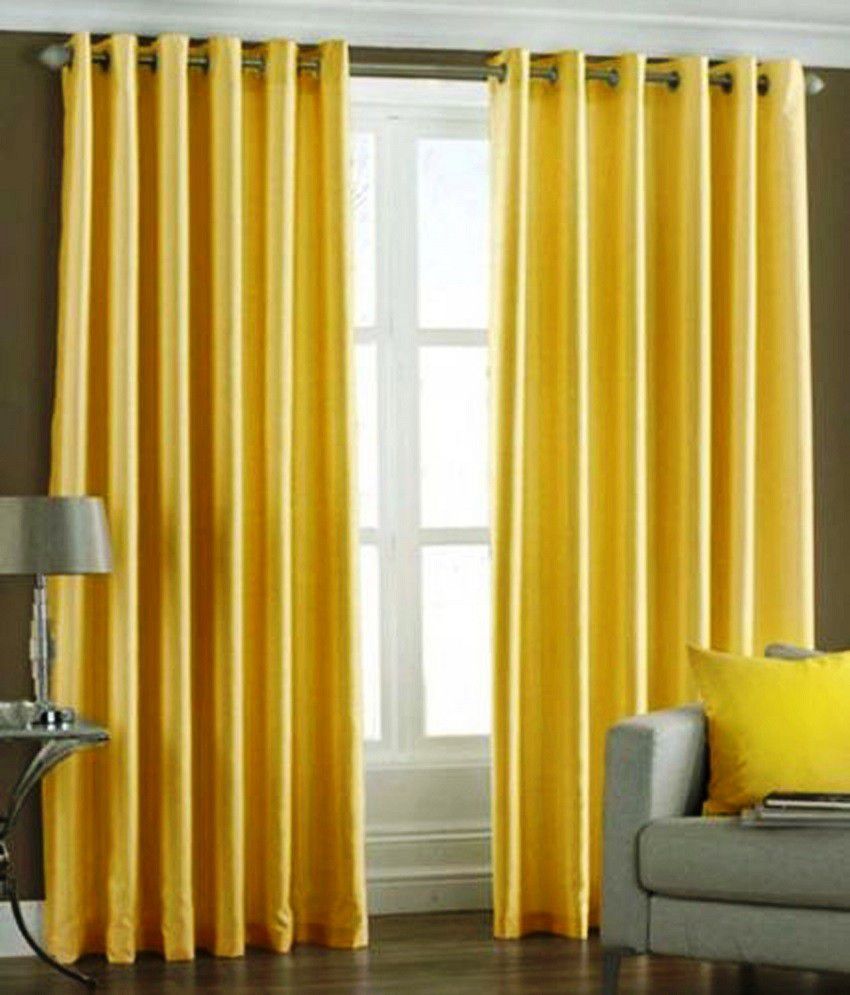 Homefab India Yellow Plain Polyester 2 Curtains This Is A 2 Pc Set Only Other Accessories Shown Is For Photography Purpose Only. Solid Yellow