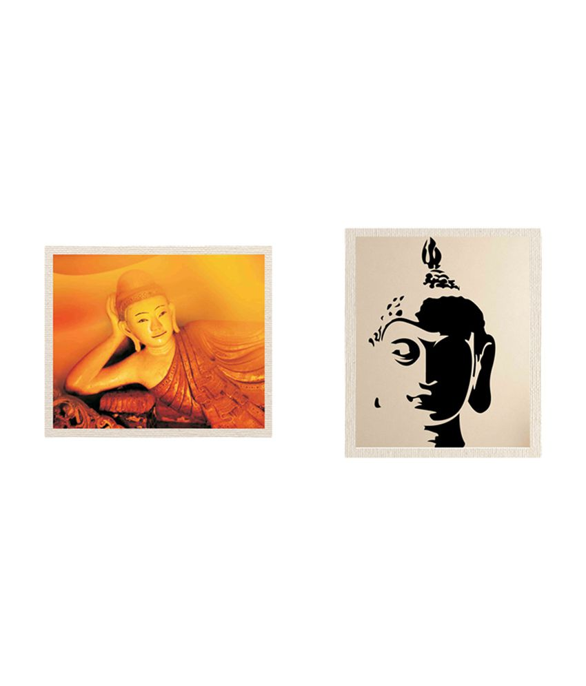 MeSleep Multicolour 100 Percent Cotton Canvas  Lord Buddha Canvas Painting - Buy One Get One