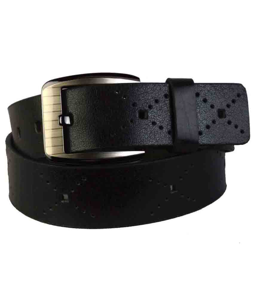 Shopatplaces Kanpur Leather Belt In Black X Pattern