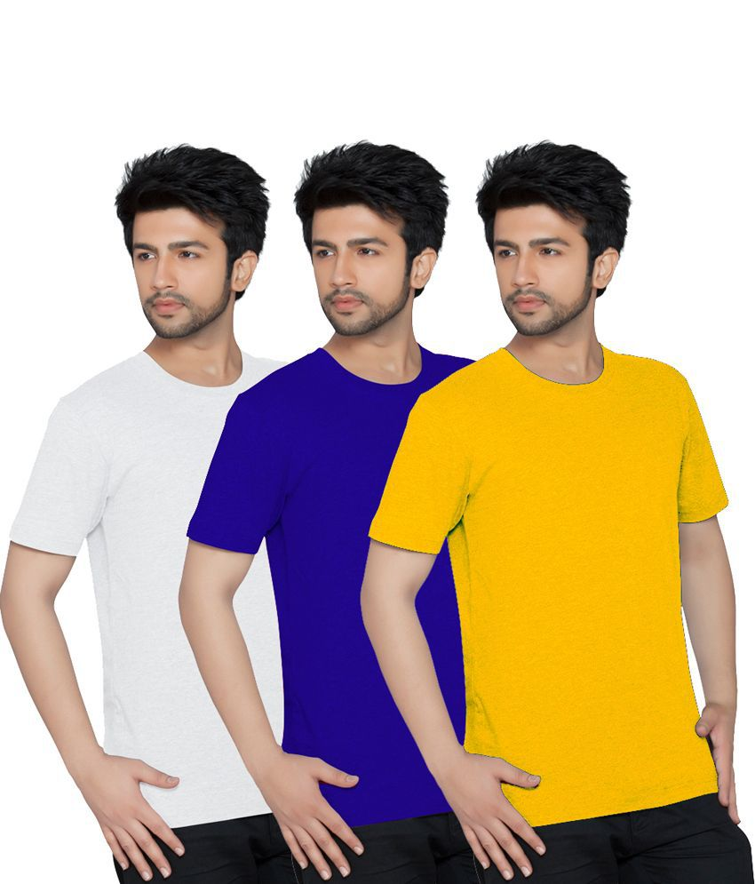 Texfit Men's White, Royal Blue & Yellow Round Neck - Pack Of 3