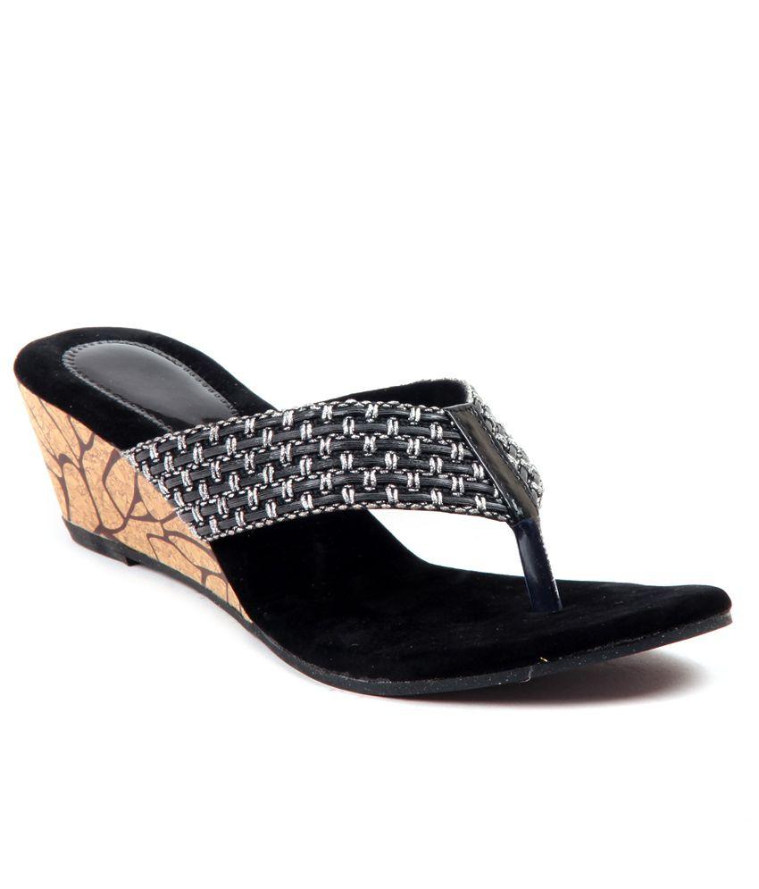 Adorn Black Wedges Heeled Slip-On