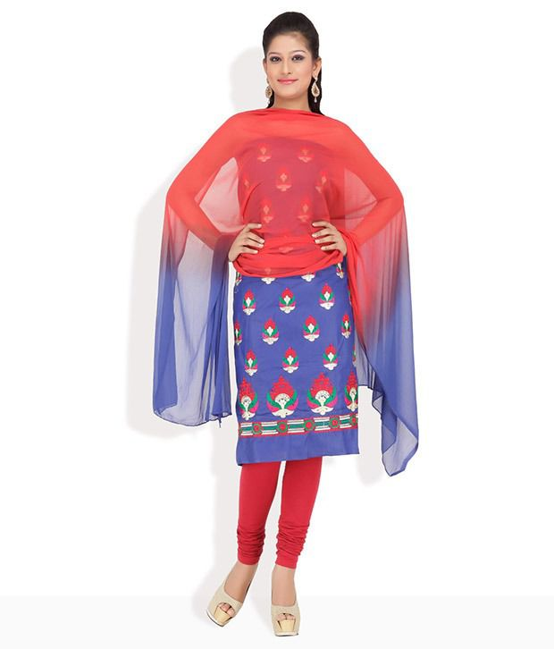 Chhabra555 Blue Cotton Embroidered Dress Material
