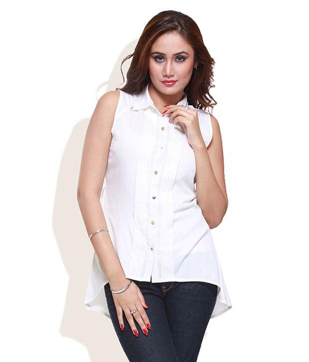 Mishka White Solids Polyester Regular Collar Shirts
