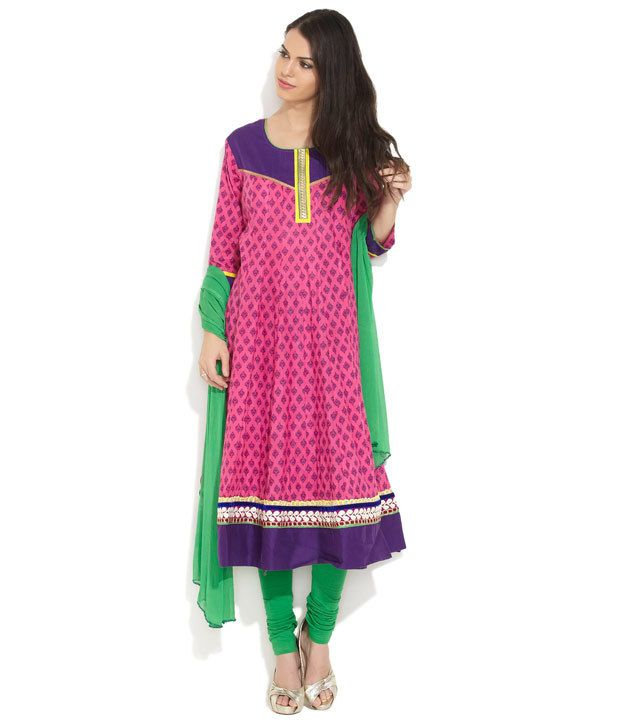 Span Pink Embroidered Cotton Stitched Anarkali Salwar Suit