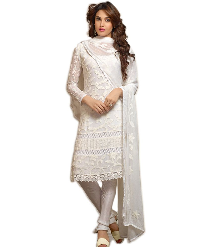 V & V Shop Latest White Designer Anarkali Suit - Buy V & V Shop ...