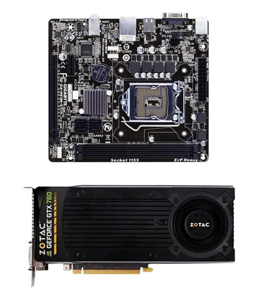 Zotac Nvidia Geforce Gtx 760 2 Gb Gddr5 Graphics Card With Gigabyte Ti Ga H61ms Motherboard