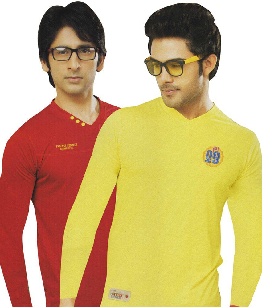 AJC V-Neck Red Yellow Full Cotton T-Shirt-Pack Of 2