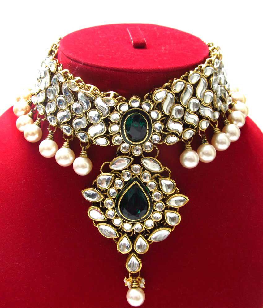 Bling - Kundan Jewellery Set In Dark Green Stones With Earings And ...