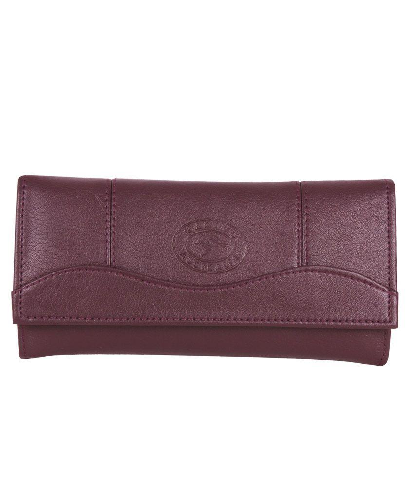 Hysty Purple Leather Formal Wallet For Women