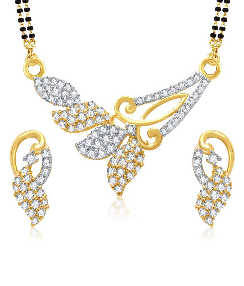 Vk Jewels Amazzing Gold And Rhodium Plated Mangalsutra Pendant With Earrings