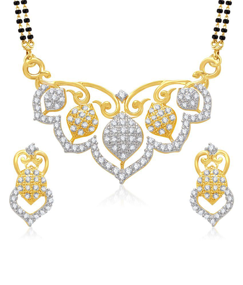 Vk Jewels Anmol Gold And Rhodium Plated Mangalsutra Pendant With Earrings