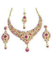 I Jewels Ethnic Collection Gold Plated Brass Aloy Elegantly Hand Crafted Stone Set For Women