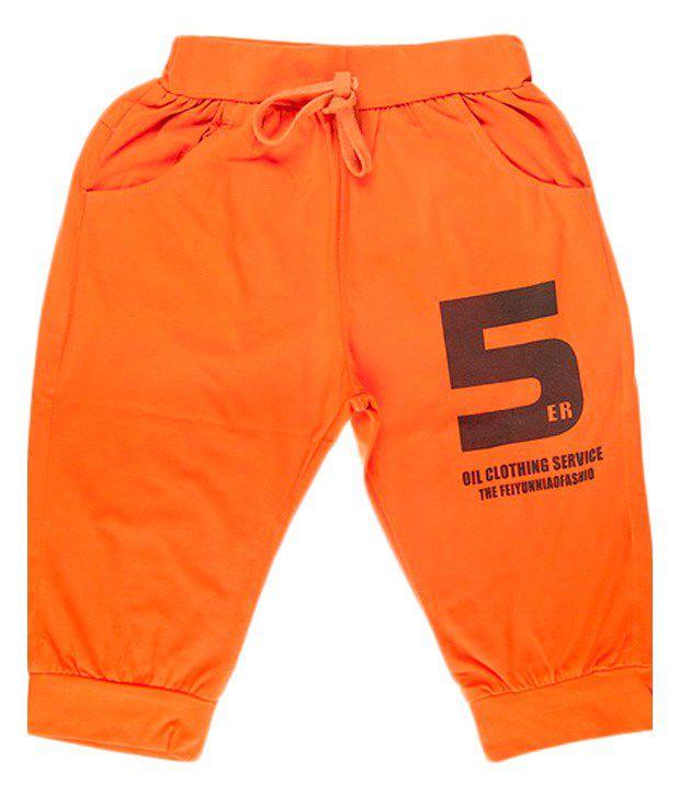 Hunny Bunny Orange Cotton Capri For Girls