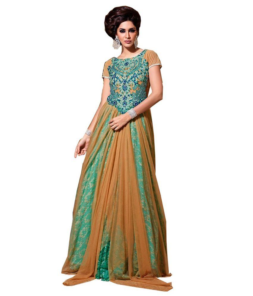 Shree Hari Shop Green Embroidered Net Semi-Stitched Anarkali Dress Material