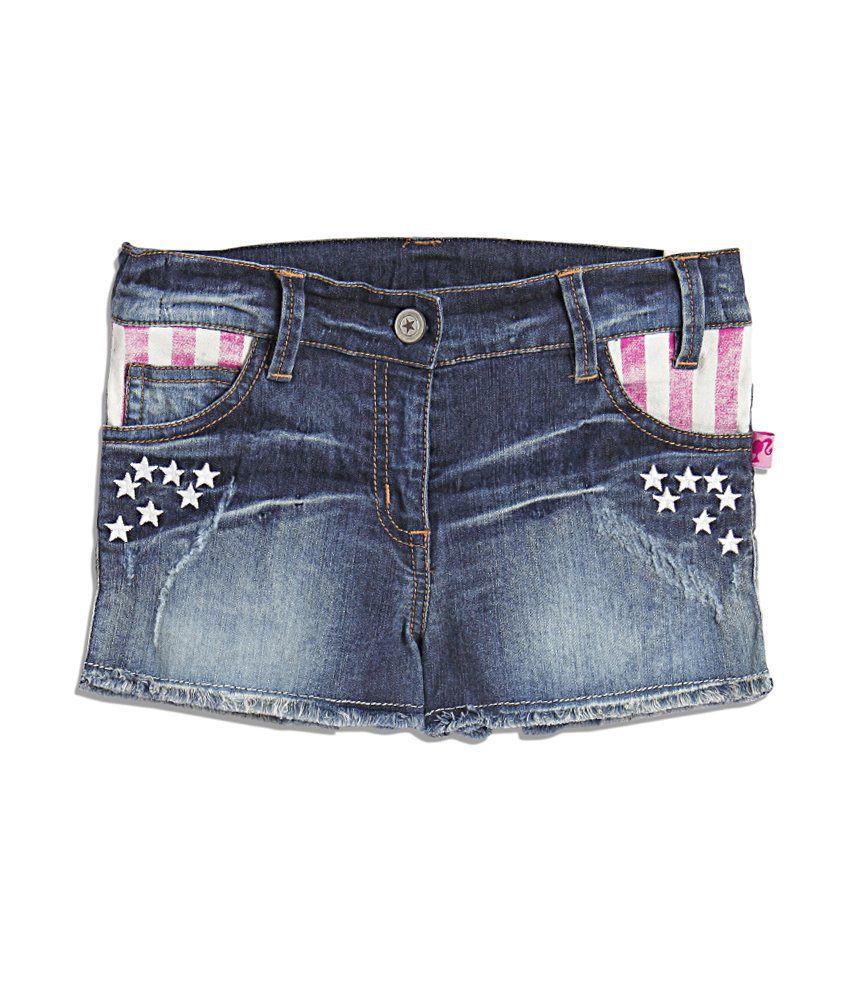 Barbie Blue Acid Wash Denim Shorty Shorts For Kids