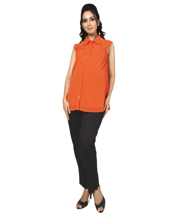 Buy Nine Maternity Wear Orange Poly Chiffon Tops Online at ...