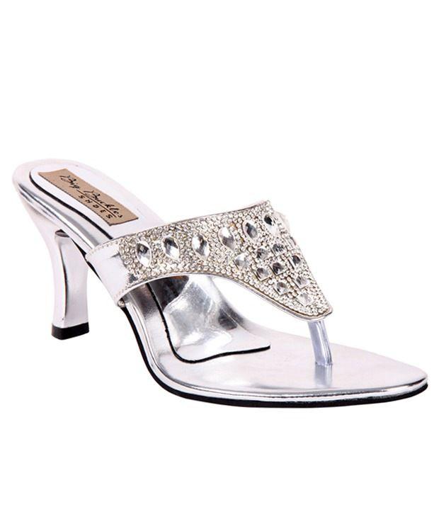 Big Buckles Silver Heeled Slip-Ons