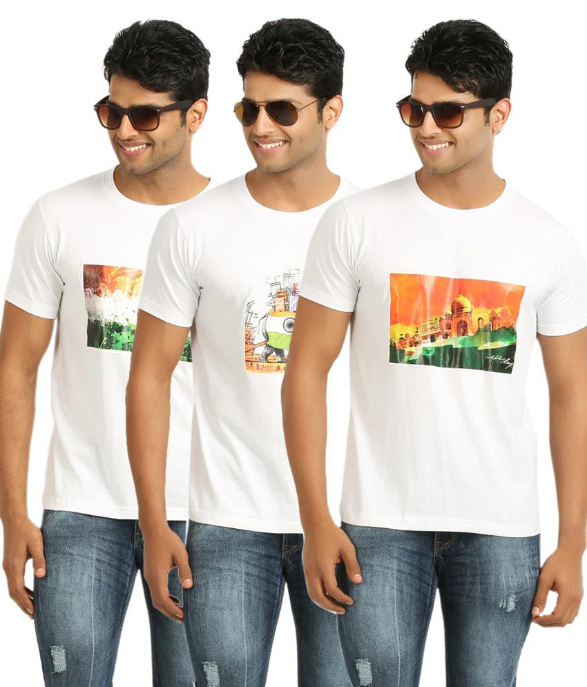 John Caballo Round Neck Combo T-shirt - White (pack Of 3)