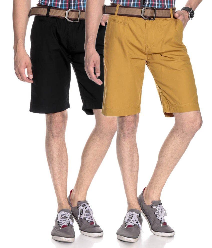 Silver Streak Khaki Cotton Solids Shorts (Combo of 2)