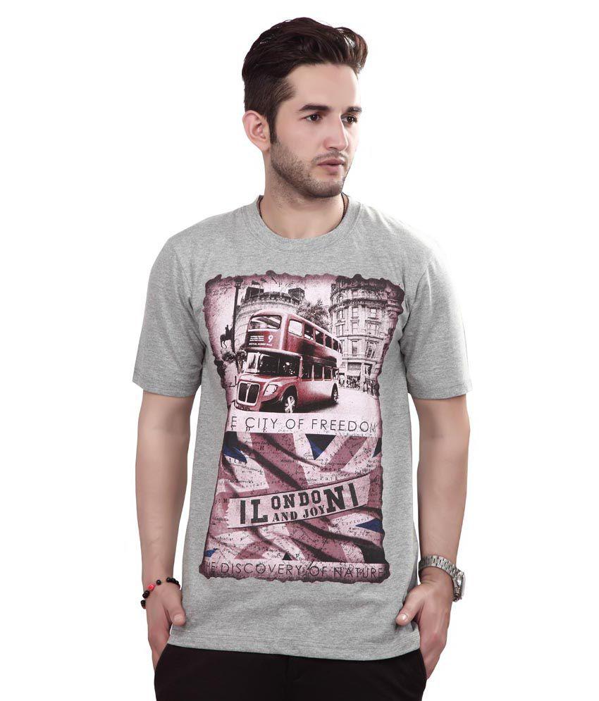 Free Spirit Gray Cotton T-Shirt