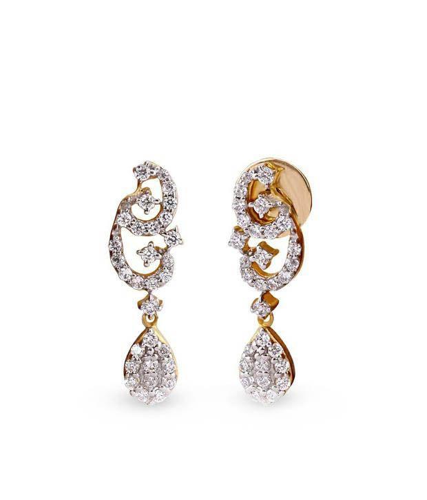 Shashvat Jewels 09KT Modern Dangling Drop Diamond Earrings