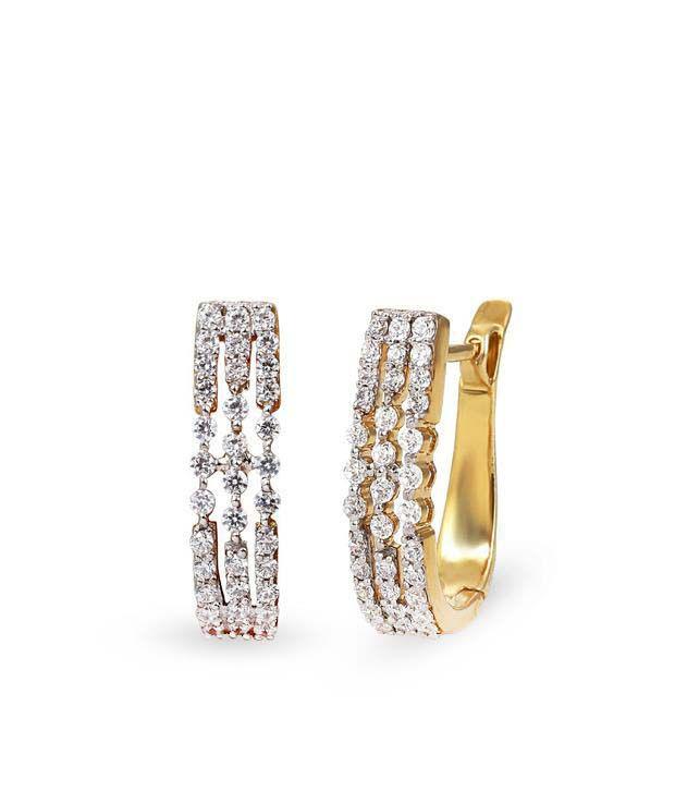 Shashvat Jewels 14KT Triumph Brilliance Hoop Earrings
