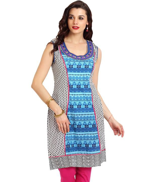 Aaboli Blue Printed Cotton Long  Kurti