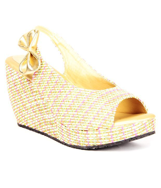 Anand Archies Gold Wedges Sandals