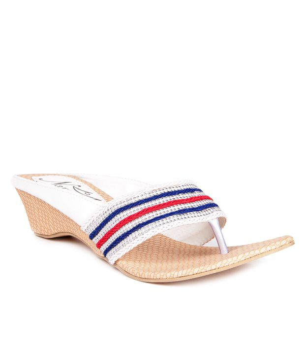 Anand Archies White Wedges Heeled Slip-On