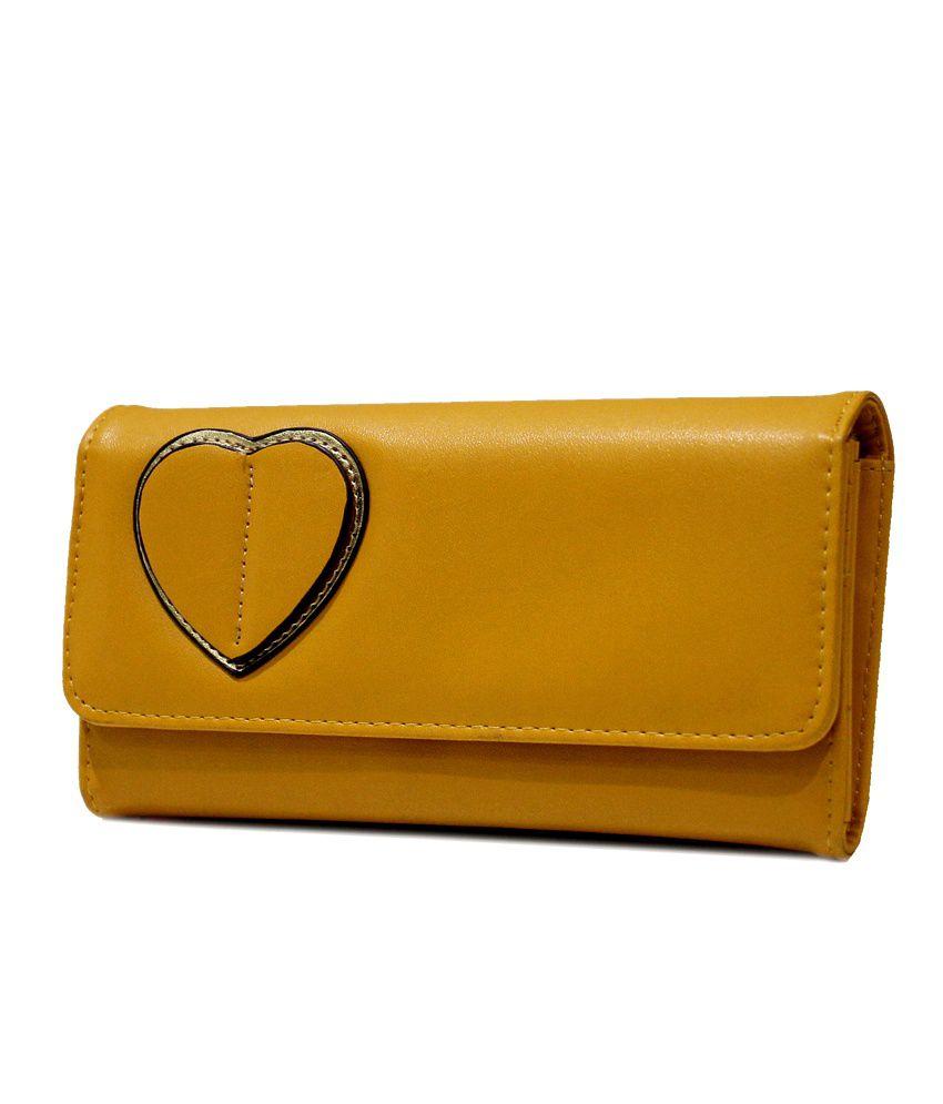 E2O Leather Yellow Women Regular Wallet