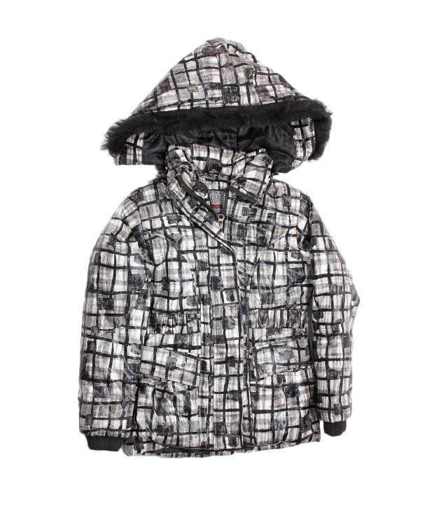 Okane White-Black Hooded Jacket For Kids