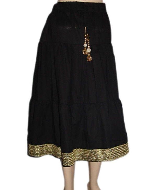 Sweet Angel Black Color Full Length Fancy Skirt For Kids
