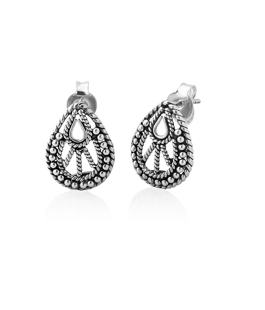 Voylla Earrings With Silver Beads
