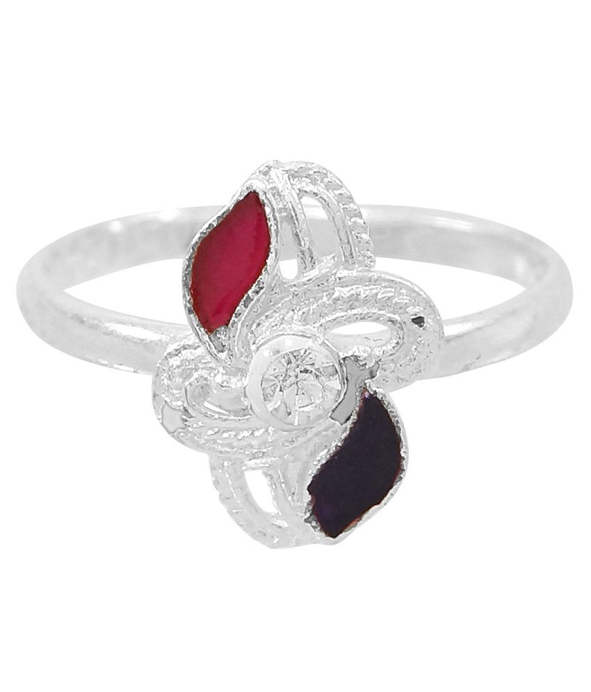 R S Jewels Silver Plated Cz Colour Spark Toe-ring