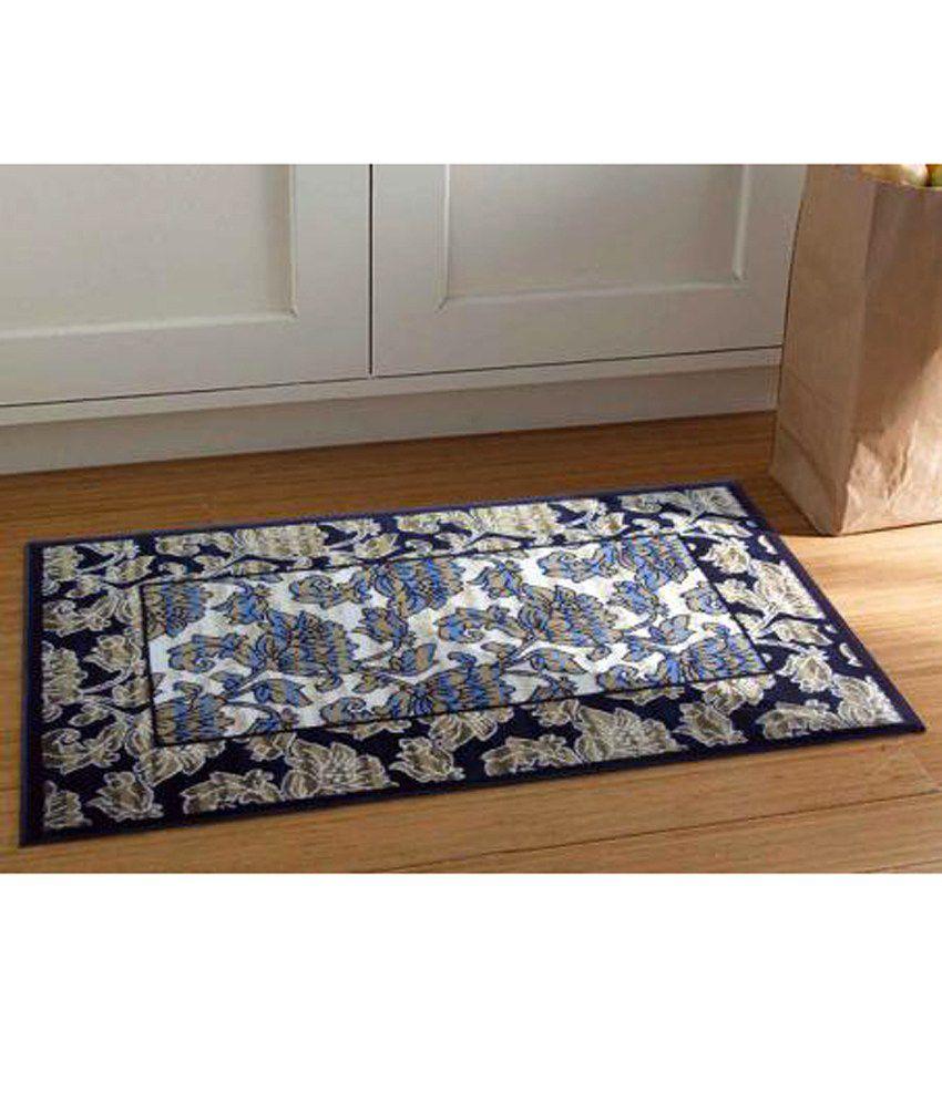 Riva Carpets Blue & Beige Floral Vintage Flowers Accent