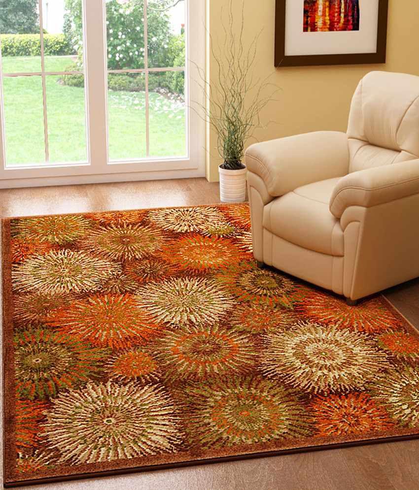 Riva Carpets Orange & Green Abstract Sydney Area Rug