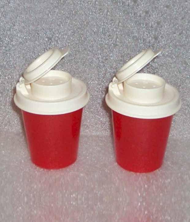 Tupperware Mini Red Plastic Salt Amp Pepper Shaker Set 2 Pcs