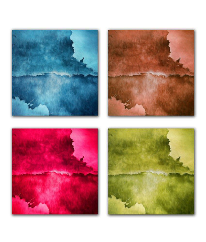 Vishnu Artz Pure Stains Set of 4 Oil Painted Canvas Wall Painting