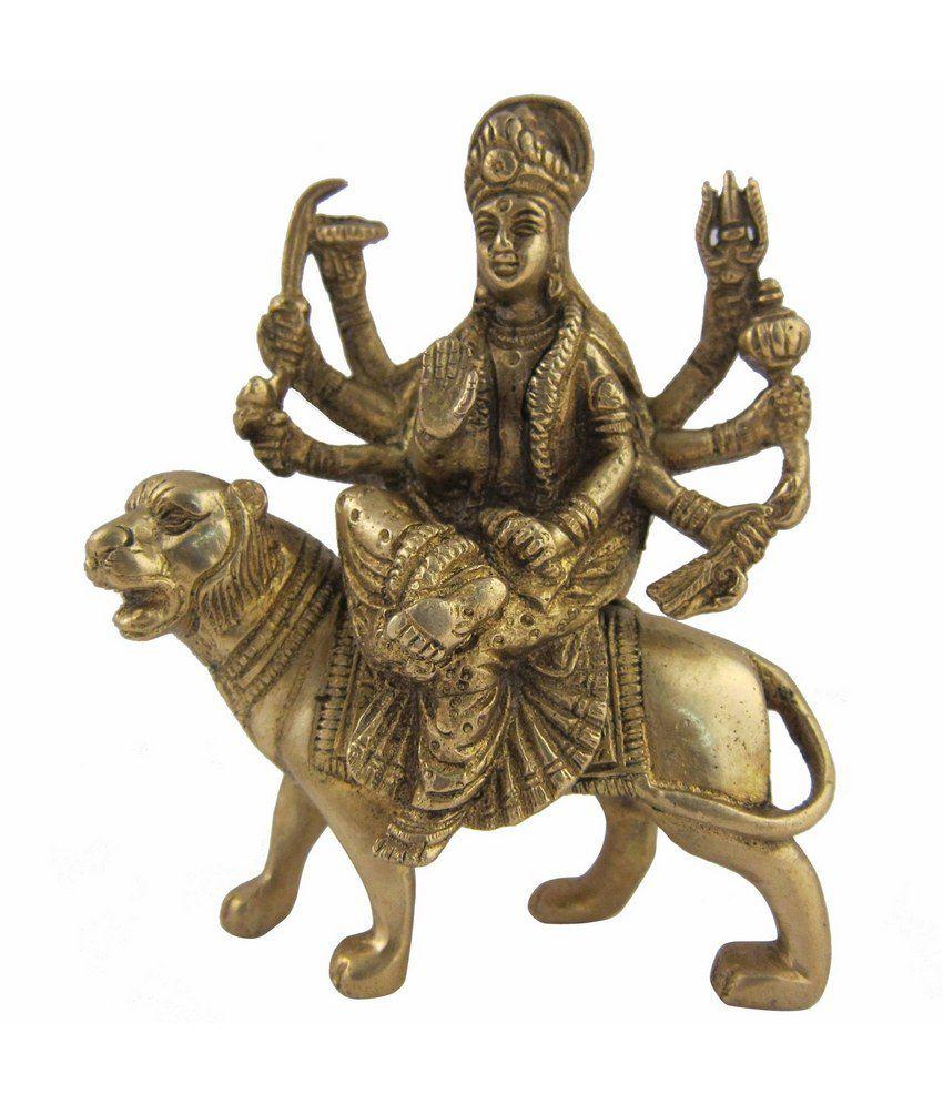 Shalinindia Hindu Goddess Statue Durga Figurine Indian Religious Sculptures 5 Inches