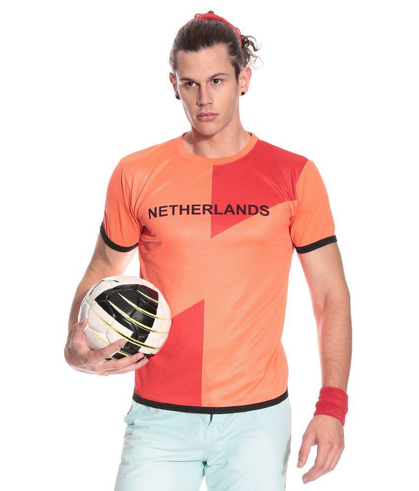 T10Sports.com Orange Polyester  T-Shirt