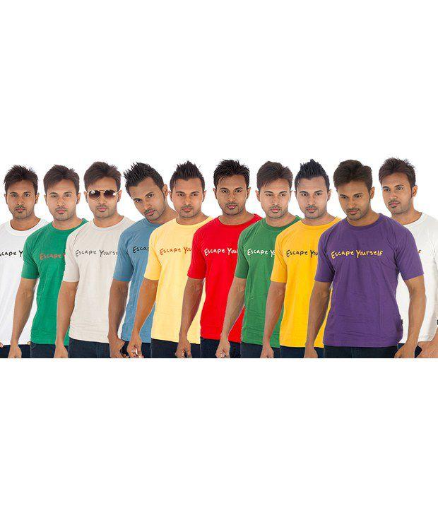 TSG Escape Multi Cotton  T-Shirt(Pack of 10)