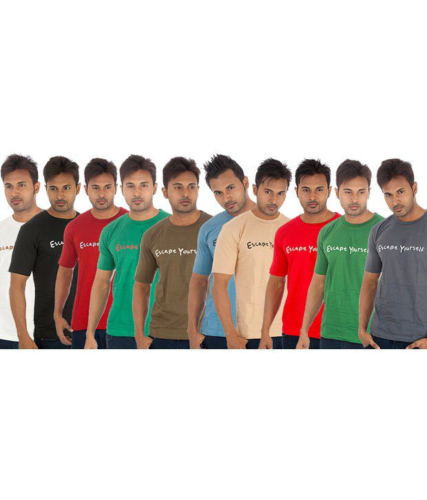 TSG Escape Multi Cotton  T-Shirt(Pack of 10)
